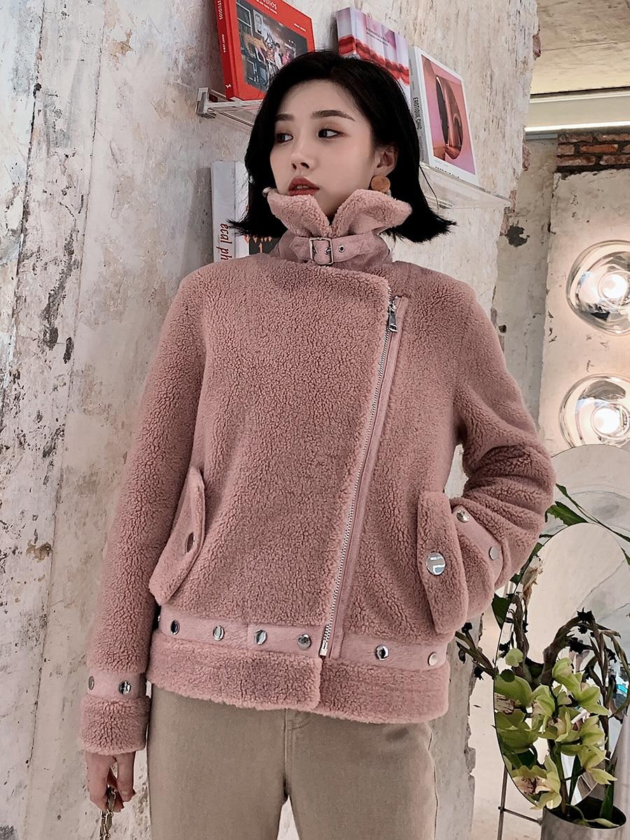 Sheep Real Shearling Fur Coat 2020 Winter Jacket Women 100% Wool Coat Female Korean Pink Jackets Chaqueta Mujer MY4046 S