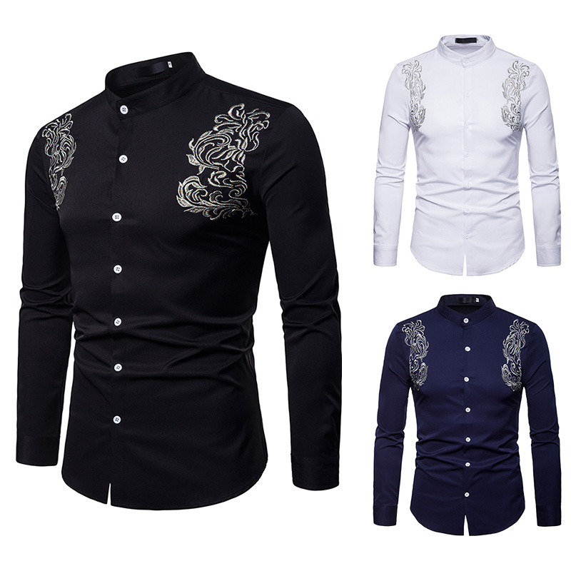 Fashion Brand Men's Long Sleeved Shirt Casual Henry Collar Shirt Men Palace Embroidery Shirts Male Nightclub Party Wear DT1800