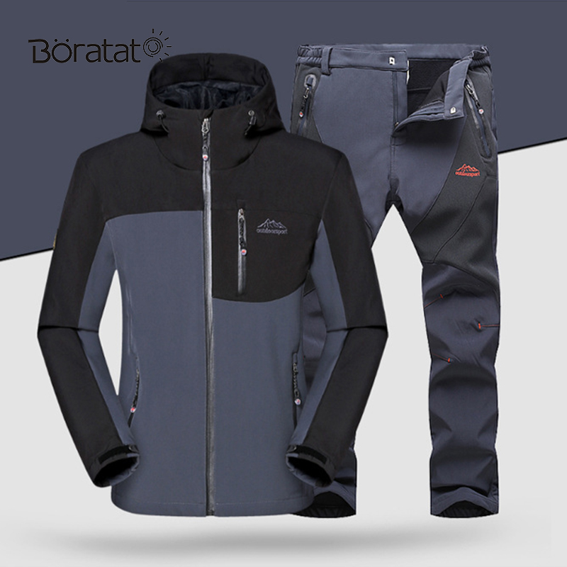 Ski Jacket Suit Men Skiing And Snowboarding Sets Super Warm Waterproof Windproof Snowboard Fleece Jacket&pants Winter Snow Suits