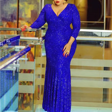 African Formal Evening Sequins Long Dresses Women Fall Solid Blue Sexy Robe Elegant Bodycon Dinner Party Dress Plus Size V Neck(China)