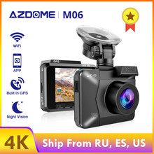 AZDOME 4K/2880*2160P Dash Cam WiFi Car DVRs Recorder M06 Dual Lens Vehicle Rear Camera Built in GPS WDR Night Vision Dashcam(China)