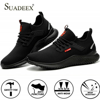 SUADEEX Steel Toe Work Shoes Puncture Proof Safety Shoes For Men Women Anti-Smashing Indestructible Safety Work  Sneakers sitaile breathable mesh steel toe safety shoes men s outdoor anti smashing men light puncture proof comfortable work shoes boot