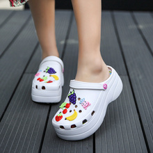 Summer Women Croc Clogs Platform Garden Sandals Cartoon Fruit Slippers Slip On F