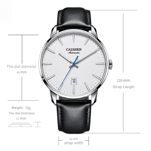 Image 5 - CADISEN2020 חדש למעלה גברים של אוטומטי מכאני שעון יוקרה מותג מכאני שעון צבאי עסקי פנאי עמיד למים גברי