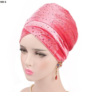 Image 4 - Helisopus 2020 New Muslim Long Tail Scarf Hat Women Starry Velvet Turban Chemo Cap Hair Accessories Women Headwraps