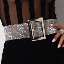 Fashion Sparkly Rhinestone 110 cm Waist Belt Adjustable Widt