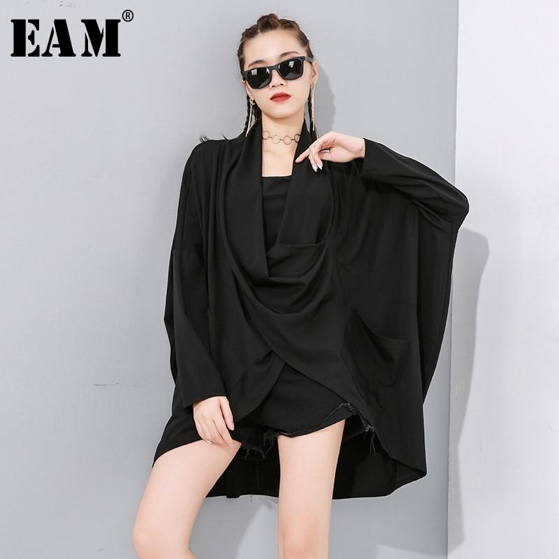 [EAM] Women Black Biref Asymmetrical Oversized Loose T-shirt New V-Neck Long Sleeve Fashion Tide  Spring Autumn 2020 1N895