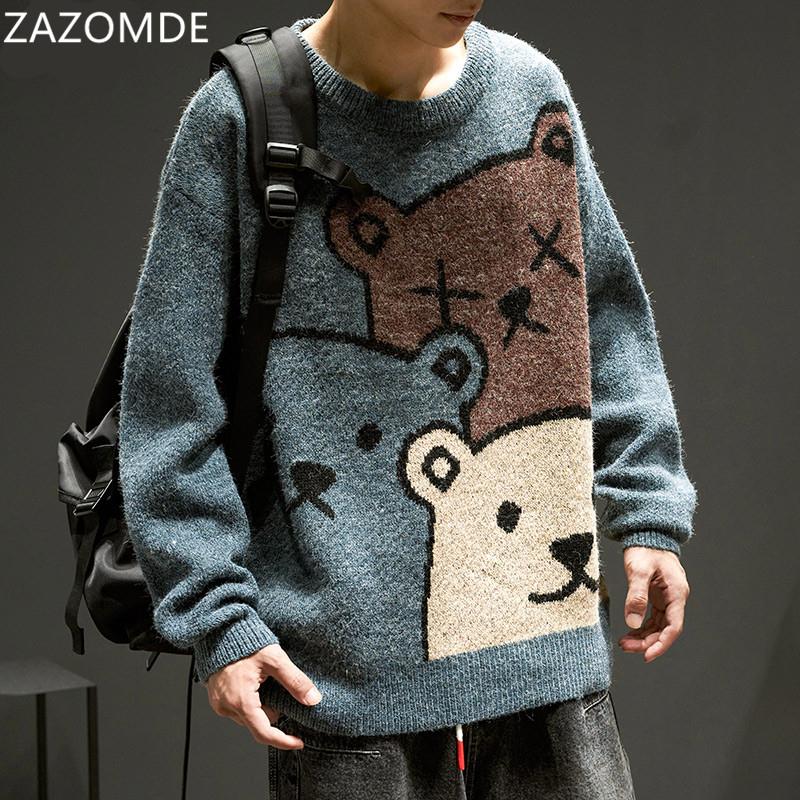ZAZOMDE Cartoon Bear Sweater Men Winter Men Clothing Fashion Long Sleeve Knitted Pullover Sweater Oversized 2020 New Cotton Coat