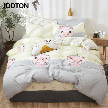 JDDTON Classical Bedding Set Happy Pink Pig Bed Linen Duvet Cover Set AB Side Bed Sheet Set Pillowcase Cover BE068 фото