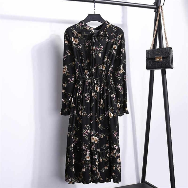 LuiseSandyHan delle Donne 2019 nuovo vestito chiffon floreale manicotto pieno una linea carina femminile casual ladys fiocco al collo