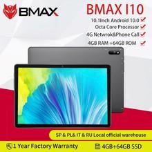 BMAX-Tableta i10 10,1 con Android 10, llamada telefónica, 1920x1080, T610, ocho núcleos, 4GB de RAM, 64GB de ROM, red 4G, Puerto tipo c, PC, Wifi Dual