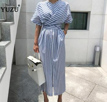 Vintage Striped Women Long Dress Cotton Blue Summer 2020 Korean Style High Split Bow Lacing Up Back Waist Bandage Loose Dresses button up shirred waist striped dress