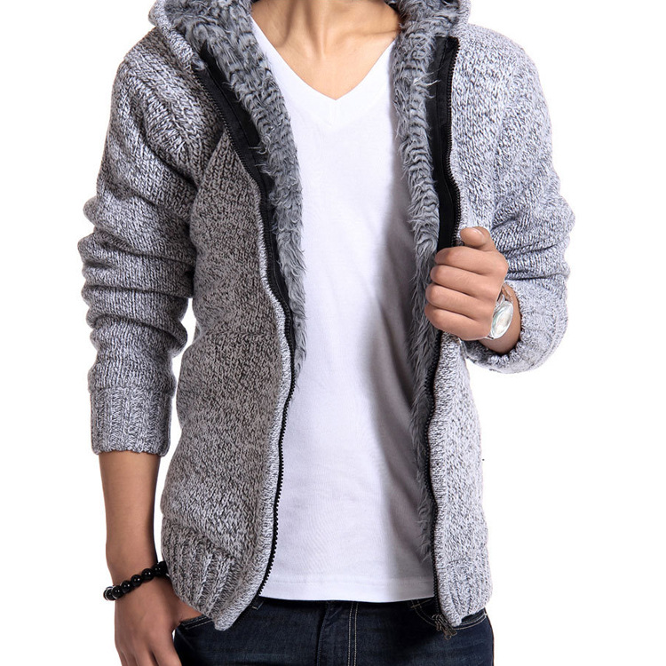 Mens Thick Fluffy Sweater Fro Boys Coat Hooded Plus Size Long Sleeve Knitted Cardigan Grey Sweater Winter Male Fashion Knitwear