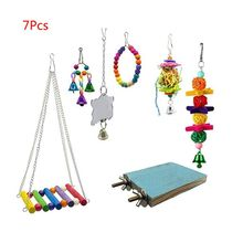 7 Pcs/set Parrot Cage Bells Swing Toy Pet Bird Perch Zone Wooden Beads Hammock Hanging Toys