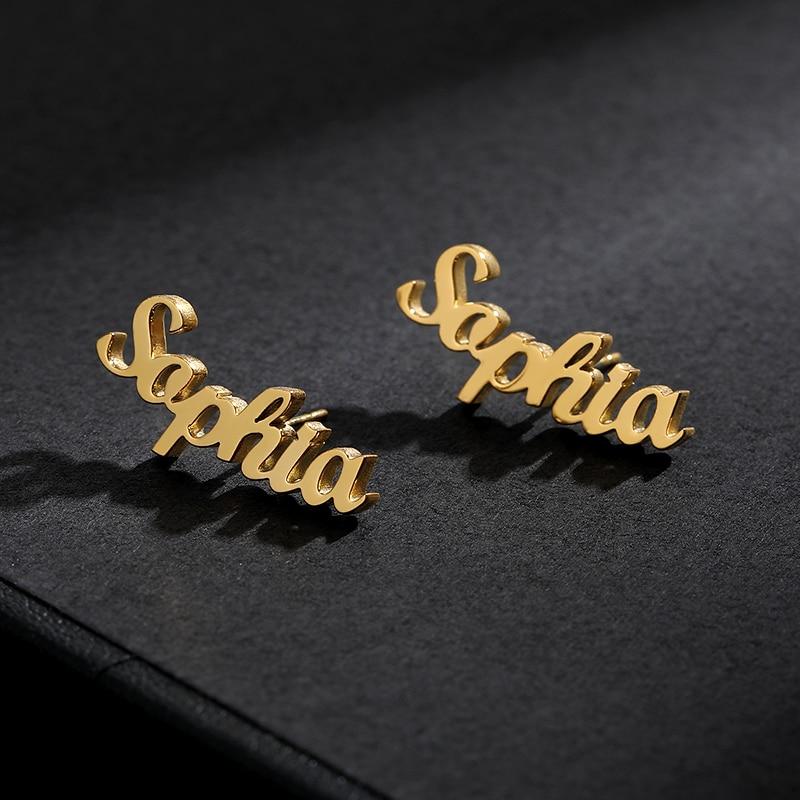 Stainless Steel Custom Name Stud Earrings For Women Personalized Nameplate Earrings Fashion Jewelry Oorbellen Pendientes Mujer