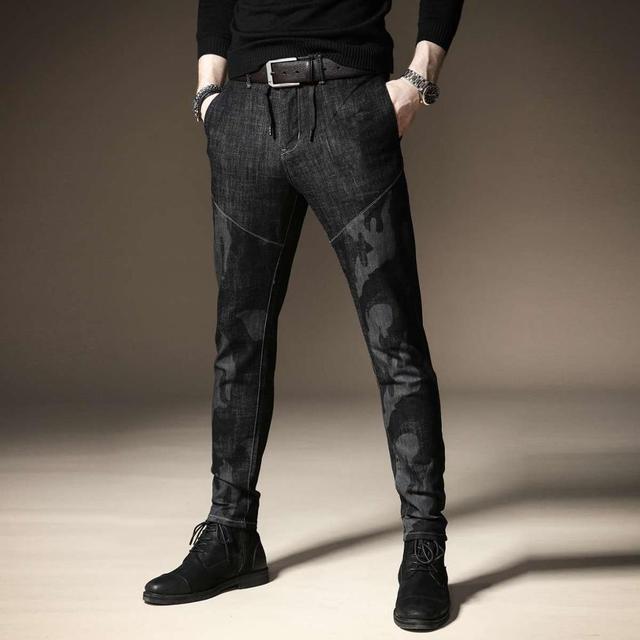 Free shipping new fashion men's male casual Original camouflage jeans men plus velvet autumn stitching pants male Slim Korean 27