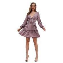 fashionable new party purple dress women deep v neck collar backless long sleeve girl ruffles mini dresses 30010 fashionable scoop neck grey backless long sleeve dress for women