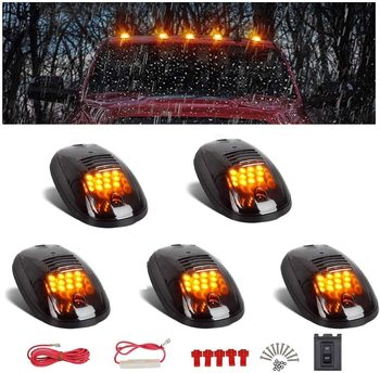 5x Cab Roof Top Marker Running Car LED lights Lamp Black Smoked Lens Bulbs Signal Cabus for Truck SUV 4x4 9 Room Led Accessories