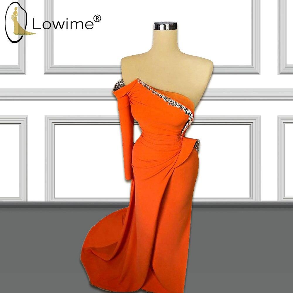 Orange One Long Sleeve Mermaid Evening Dresess 2020 Beaded Muslim Satin Formal Dresses вечерние платья Robe De Soiree
