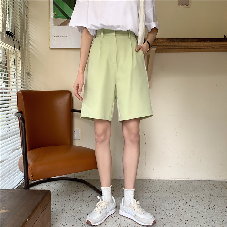 Hcf8e0e80a1964137a5b0c9356cde89b4J - Summer High Waist Wide Leg Loose Solid Shorts