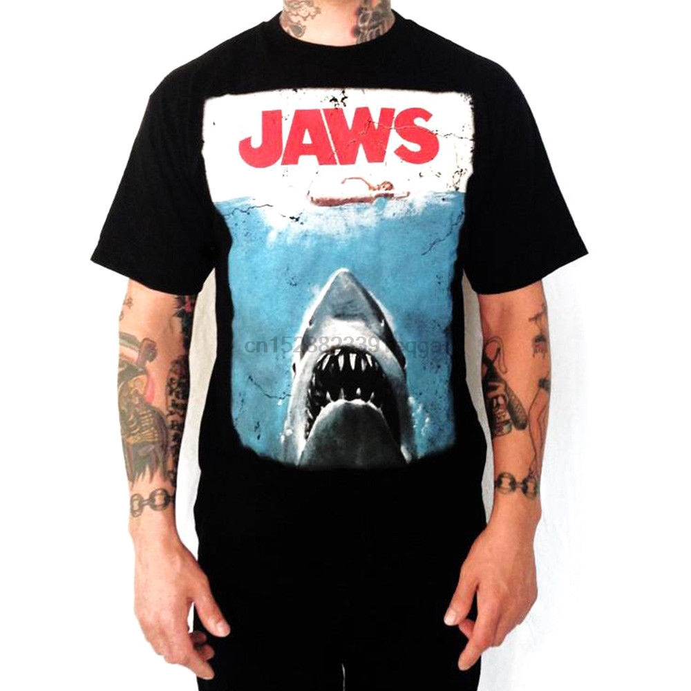 Jaws Movie Shark Logo Cutout Licensed Adult T Shirt