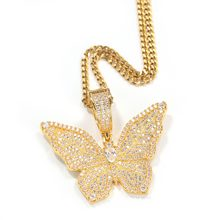 THE BLING KING Gothic Gold Butterfly Necklace HipHop Zirconia Copper Material Street Style Tik Tok Hot Pendant HipHop Jewelry(China)