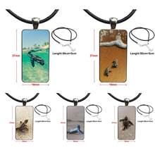 2018 New Arrival Baby Sea Turtle Necklace Fashion Long Chain With Rectangle Necklace Jewelry For Women Jewellery(China)