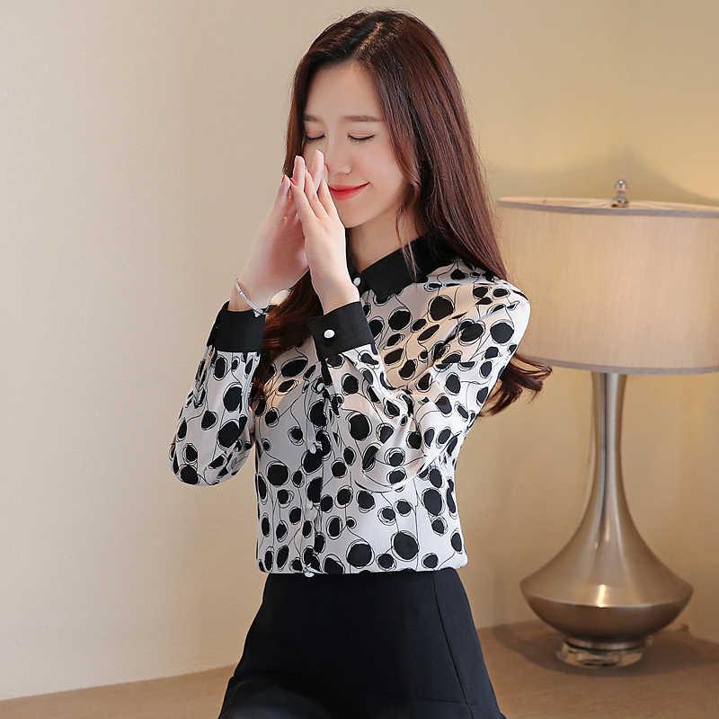 Korean Fashion Chiffon Women Blouses Dot Long Sleeve White Women Shirts Plus Size XXL Blusas Femininas Elegante Ladies Tops