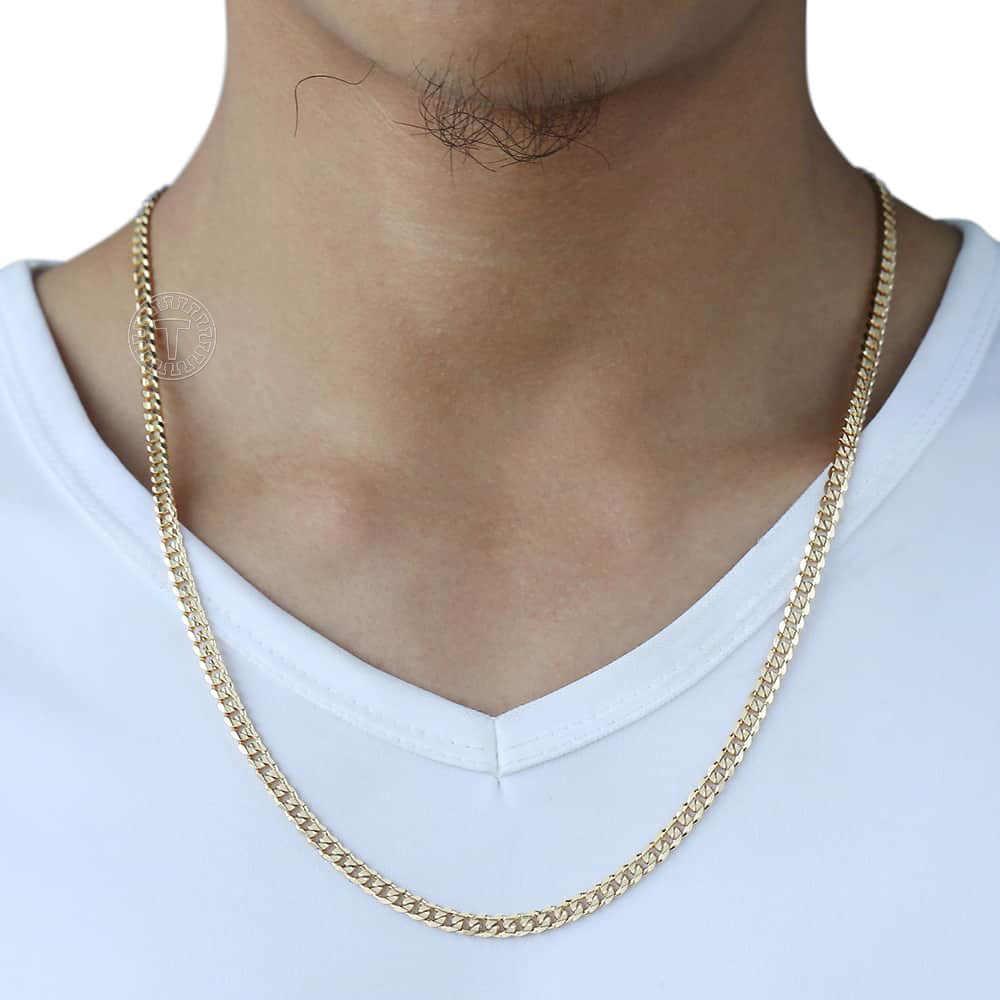 Trendsmax גברים של קובני קישור שרשרת שרשרת גולדפילד שרשרת שרשרת מתנה עבור גברים Hiphop סיטונאי תכשיטי 4.5mm 50cm 60cm GN438