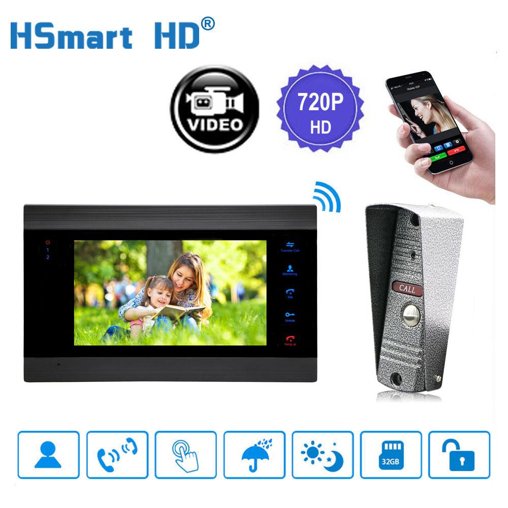 "7"" Wireless WiFi LCD Video Doorphone HD 720P 1200TVL IR   IP65 Outdoor Metal Camera APP Video Record  Doorbell Intercom System"
