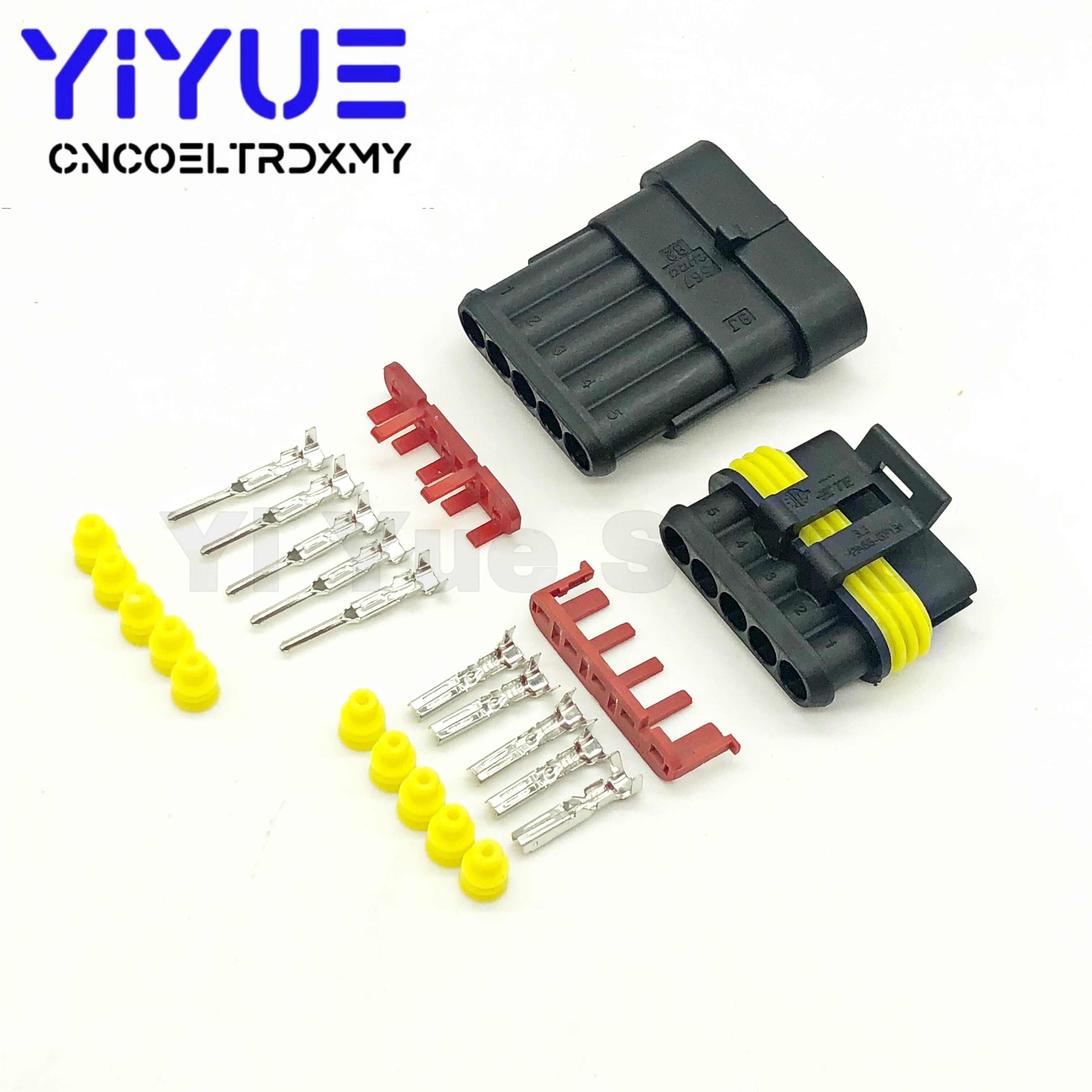 1 Set SUPER SEAL AMP Tyco Konektor 1.5 KIT 1/2/3/4/5/6 pin Tahan Air Wanita dan Pria Listrik Otomotif Konektor Kawat