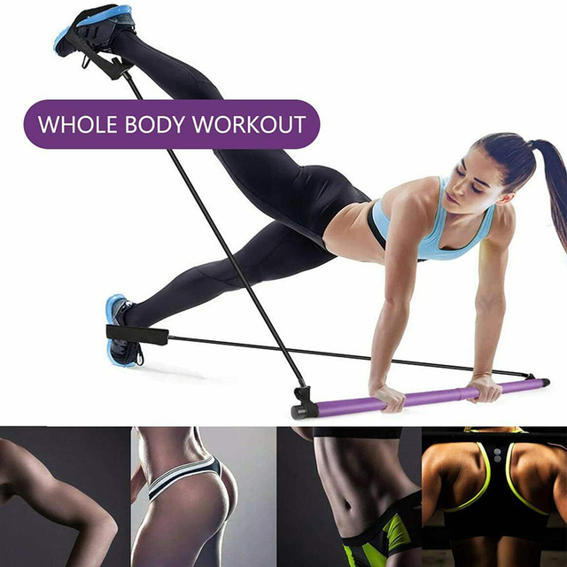 Yoga Pilates Stick with Resistance Bands Muscle Stretch Pull Rope Home Gym Fitness Bar Sports Workout Exercise Elastic Bands 4