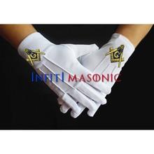 INFITI масонская королевская Арка ручная вышивка белые перчатки высокое качество полиэстер масонские перчатки с вывеской знак