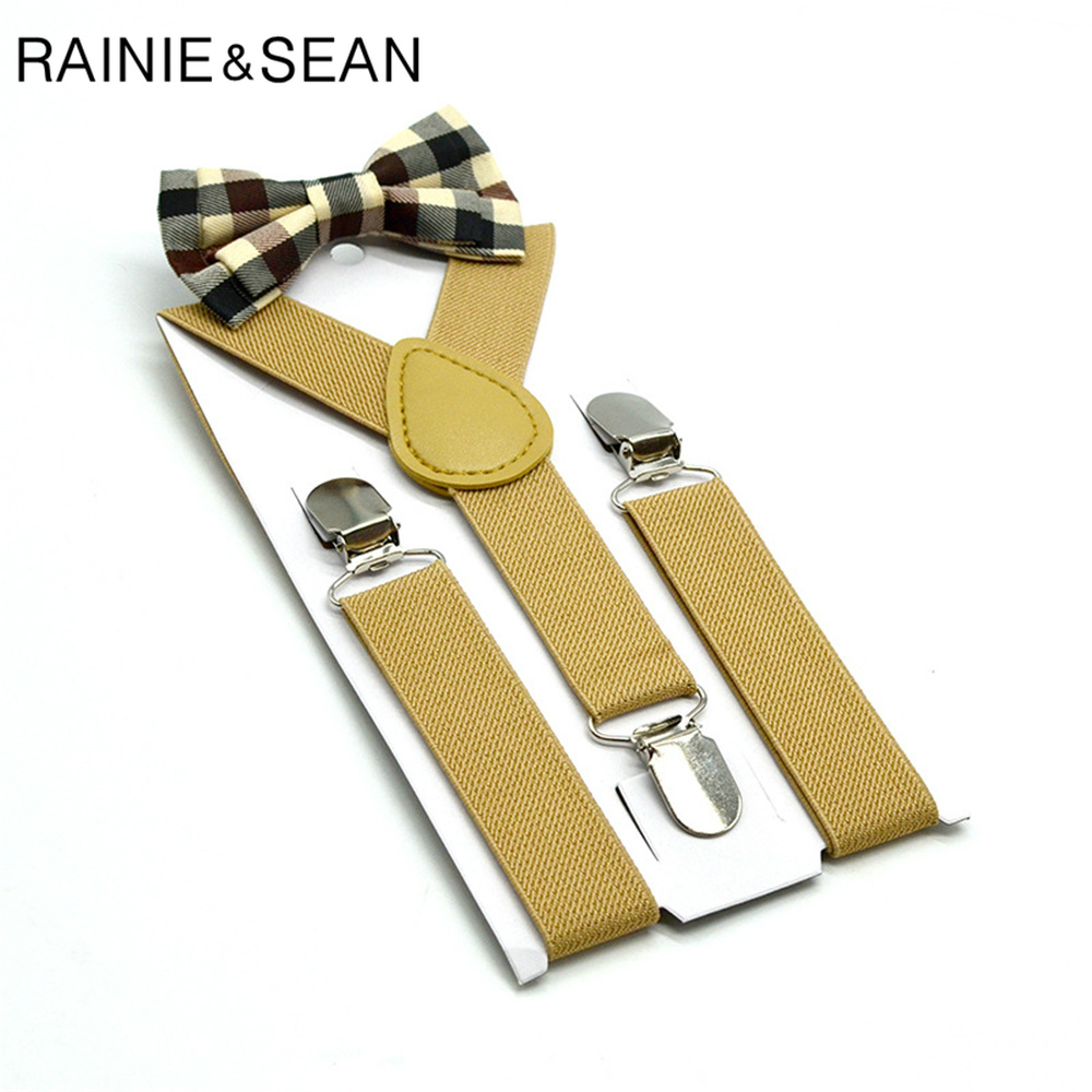 RAINIE SEAN Khaki Boys Suspenders Baby Kids Suspenders Bowtie Solid British Style Wedding Vintage Children Braces 65cm*2.5cm