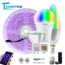 Wireless WiFi Smart Light Bulb RGB E27 E14 GU10 APP Control Dimmable Bulbs WIFI LED Strip Set Work with Amazon Alexa Google