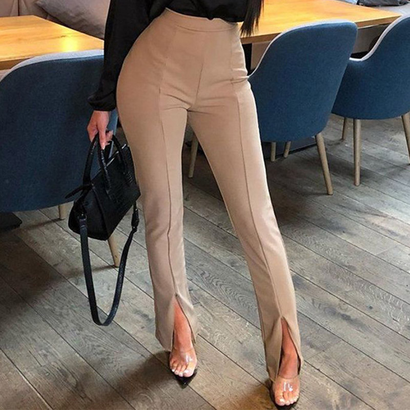 Skinny Long Pencil Pants Women Elegant Black White Apricot Split Trousers Winter High Waist Office Lady Soft Pants New