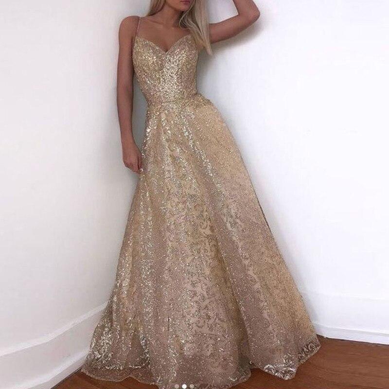 YULUOSHA Gold Long Formal Dress Elegant Polyester Ruffles Sequined A-Line Sleeveless Floor-Length Evening Dress Robe De Soiree