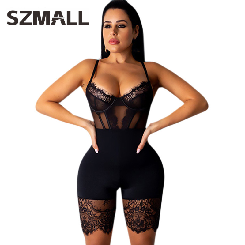 Moda Feminina Newest Sexy Women Bodysuit Pop US Short Lace Playsuit For Female Fashion Hollow Out Club Jumpsuits Clothes