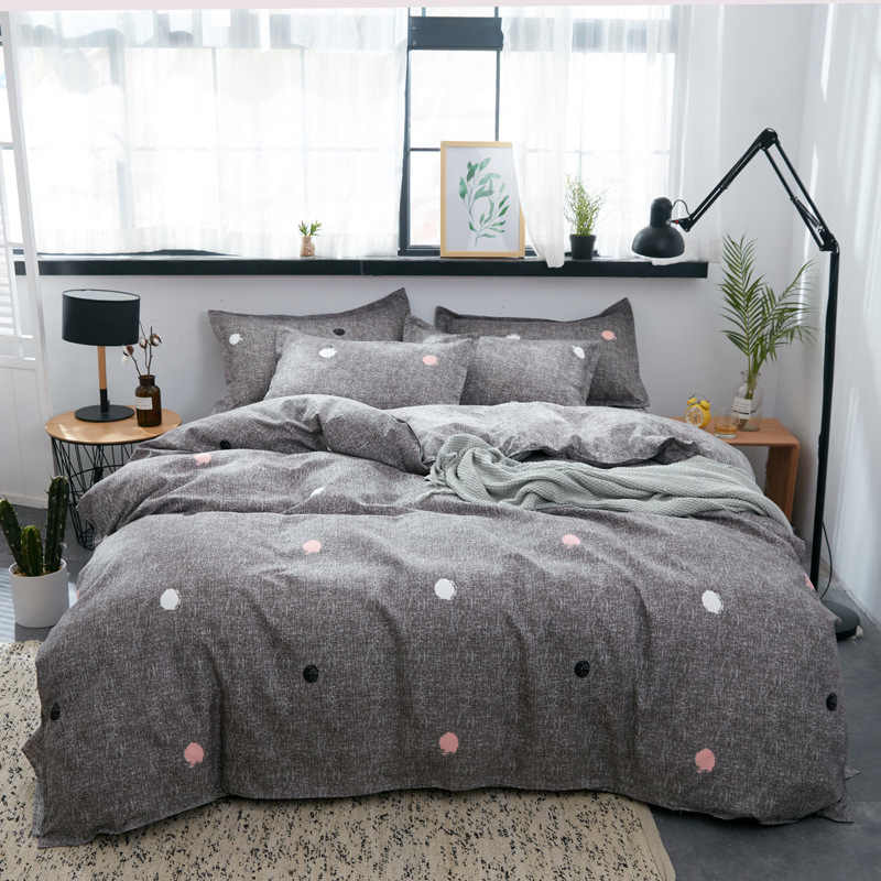2019 home bedding Duvet cover set super king bedclothes grey flat sheet Adults bedding set 5 size bed linens AB side duvet cover