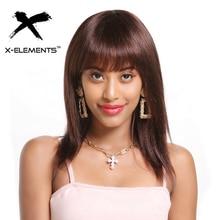 X-элементы бразильские человеческие волосы парики 130% плотность не Реми волосы парики для черных женщин красота 180 г# 1B#4# 99J прямые волосы парики