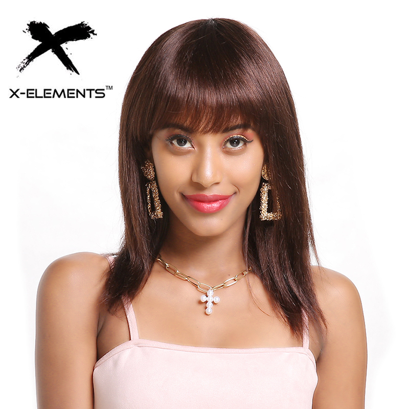 X-Elements Brazilian Human Hair Wigs 130% Density Non-remy Hair Wigs For Black Women BEAUTY 180G #1B #4 #99J Straight Hair Wigs