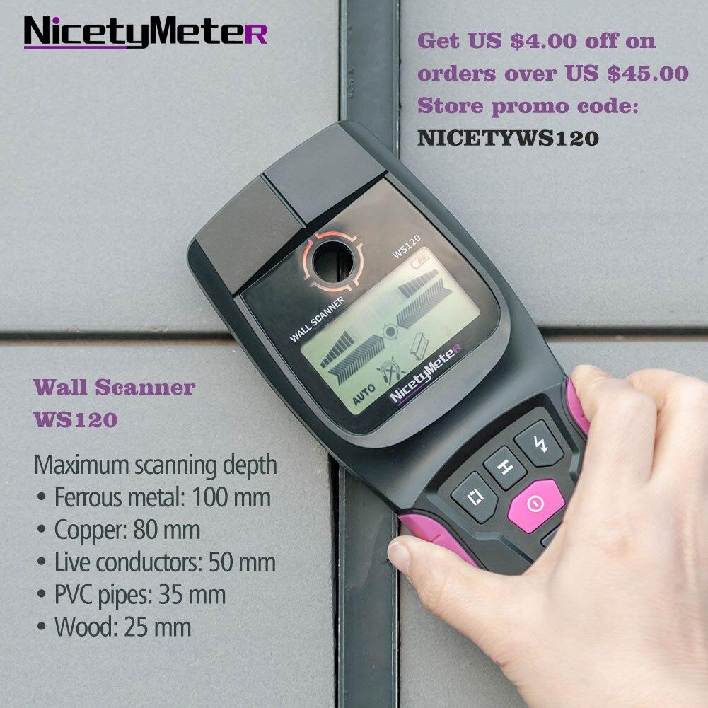 Nicetymeter WS120 ручной многофункциональный настенный детектор металлический деревянный кабель провод шпилька ПВХ труба Finder сканер светодиодный...