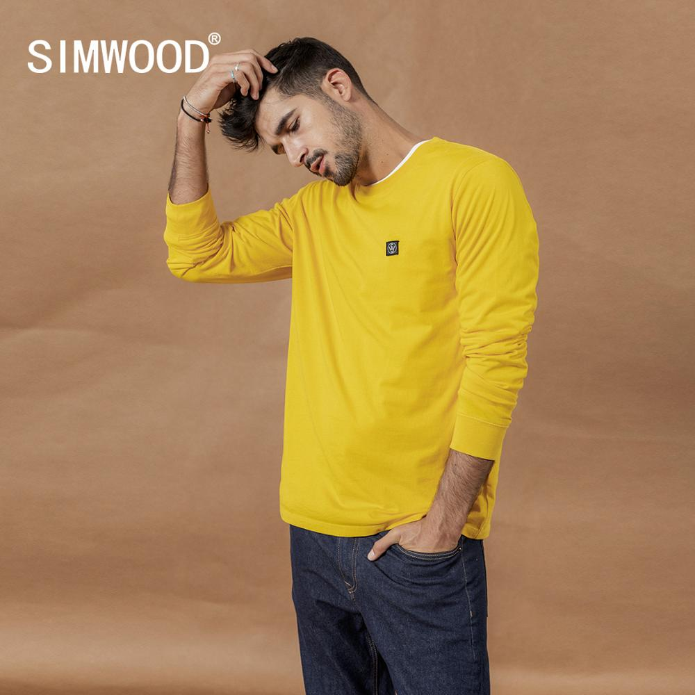 SIMWOOD 2020 Spring New Long Sleeve T-shirt Men Casual Basic 100% Cotton Tshirt Logo Casual Top Plus Size T Shirts SI980594