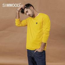Simwood 2020 春の新長袖 tシャツ男性カジュアルな基本的な綿 100% tシャツロゴカジュアルトッププラスサイズの tシャツ SI980594