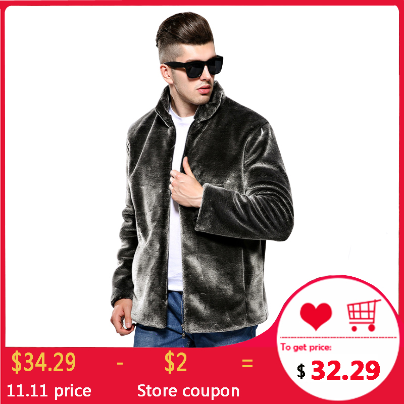 Mink Mens Fur Coats Winter Faux Fur Jacket Men Warm Zipper Luxury Outerwear Male Leather Jackets Clothes Dropshipping Blue Black
