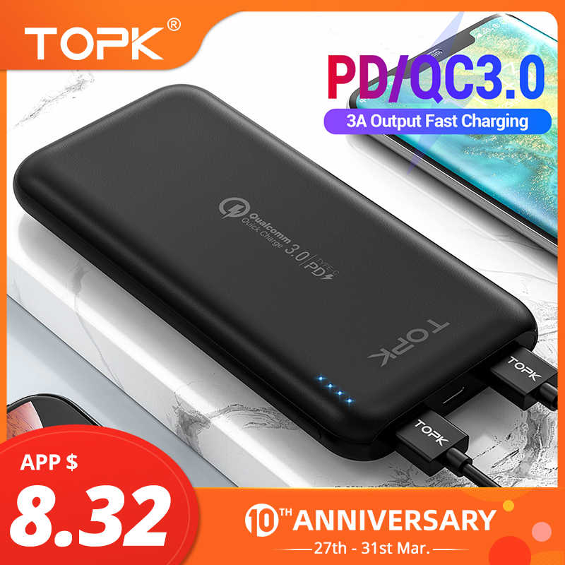 TOPK 10000mAh Power Bank 18W USB Type C External Batteries QC3.0 PD Two-way Fast Charging Powerbank For Samsung Xiaomi