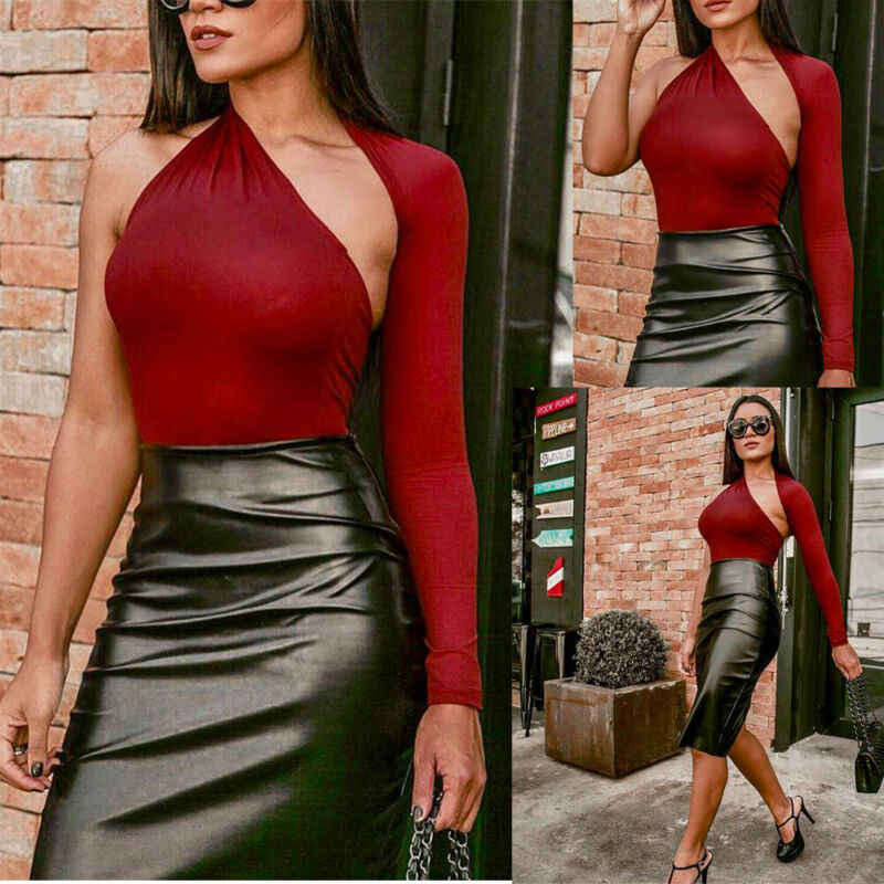 ใหม่เซ็กซี่ผู้หญิงสุภาพสตรีแขนยาว Skinny Bodysuit หนึ่งไหล่ Leotard Bodycon Jumpsuit Romper สีดำสีแดงสีขาว