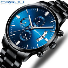 Top Brand CRRJU Men Watches Fashion Blue Stainless Steel Waterproof Sport Watch Men Quartz Clock Male Chronograph Reloj Hombre