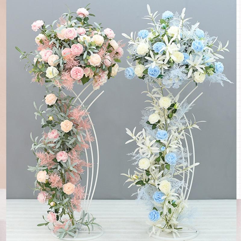 wedding : 4 PCS  Flower Vase  Floor Vases Column Stand Metal Road Lead Wedding Centerpiece Geometric Pot Table Rack For Home Event Decor