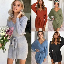 Fadzeco Women Knitted Sweater Dress Sexy Deep V Neck Backless Long Sleeve Elegant Wrap Dress Ladies Bodycon Dress with Belt